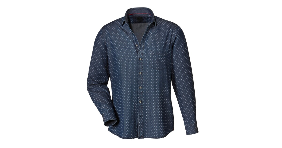 olymp jeanshemd blau hemden bekleidung herrenmode mode online shop. Black Bedroom Furniture Sets. Home Design Ideas