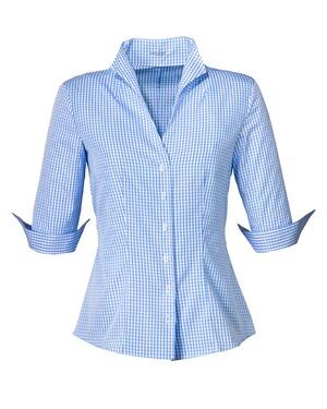 vichykaro bluse blau von van laack blusen bekleidung damenmode online shop. Black Bedroom Furniture Sets. Home Design Ideas