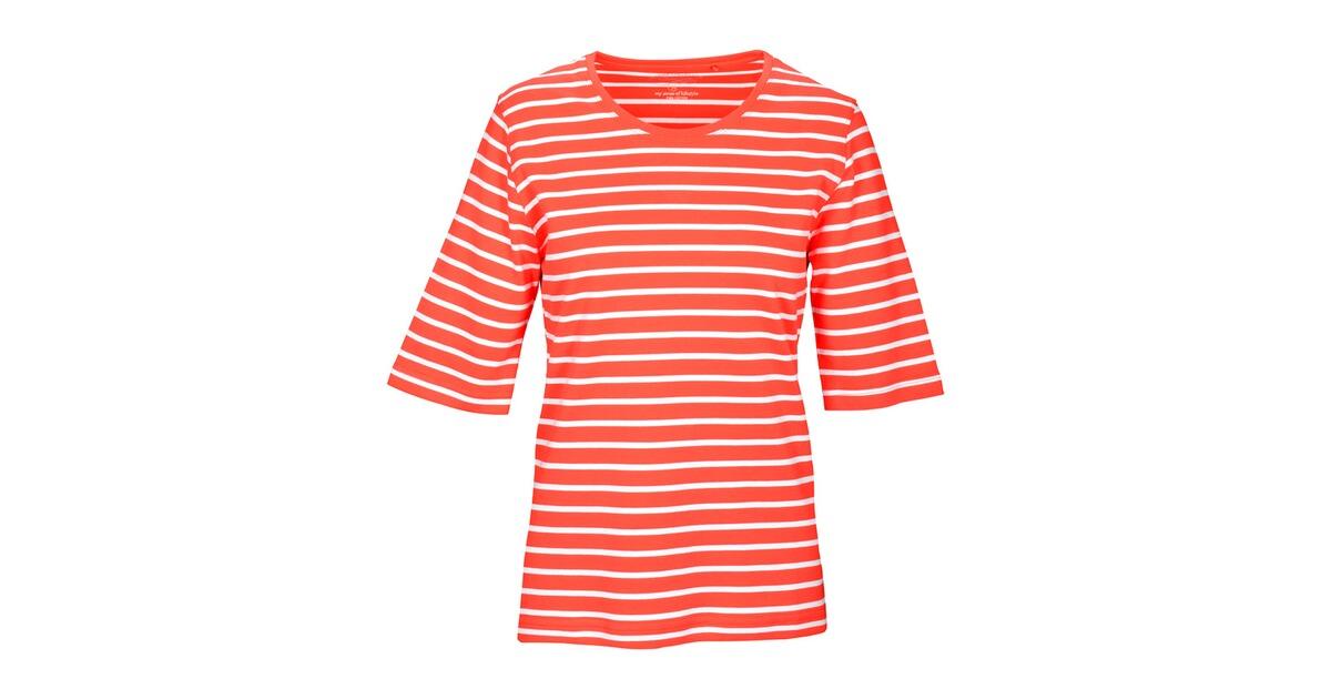 clarina t shirt gestreift orange clarina damenmode marken online shop. Black Bedroom Furniture Sets. Home Design Ideas