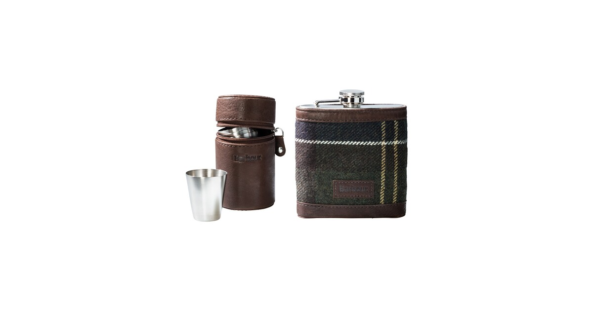 barbour geschenkset tartan hip flask cups gr n taschen rucks cke accessoires. Black Bedroom Furniture Sets. Home Design Ideas