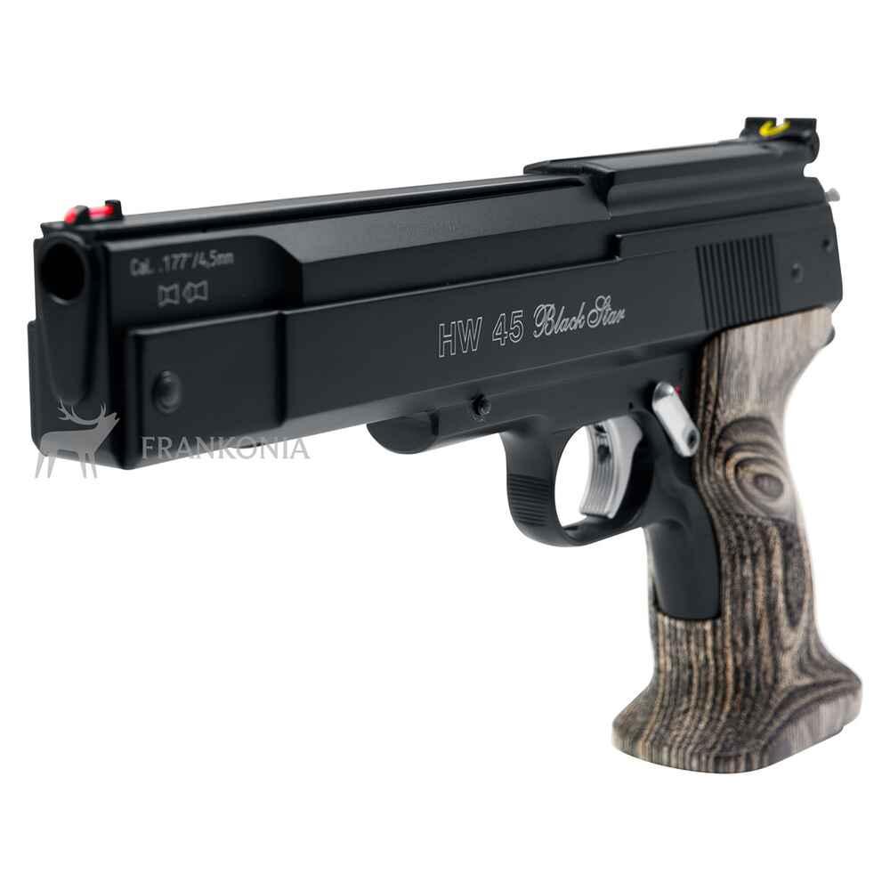 weihrauch sport luftpistole hw 45 black star kaliber 4 50 luftpistolen luftdruckwaffen. Black Bedroom Furniture Sets. Home Design Ideas