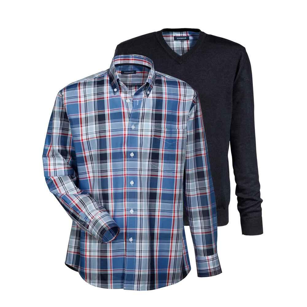 highmoor set pullover hemd blau pullover bekleidung herrenmode mode online shop. Black Bedroom Furniture Sets. Home Design Ideas