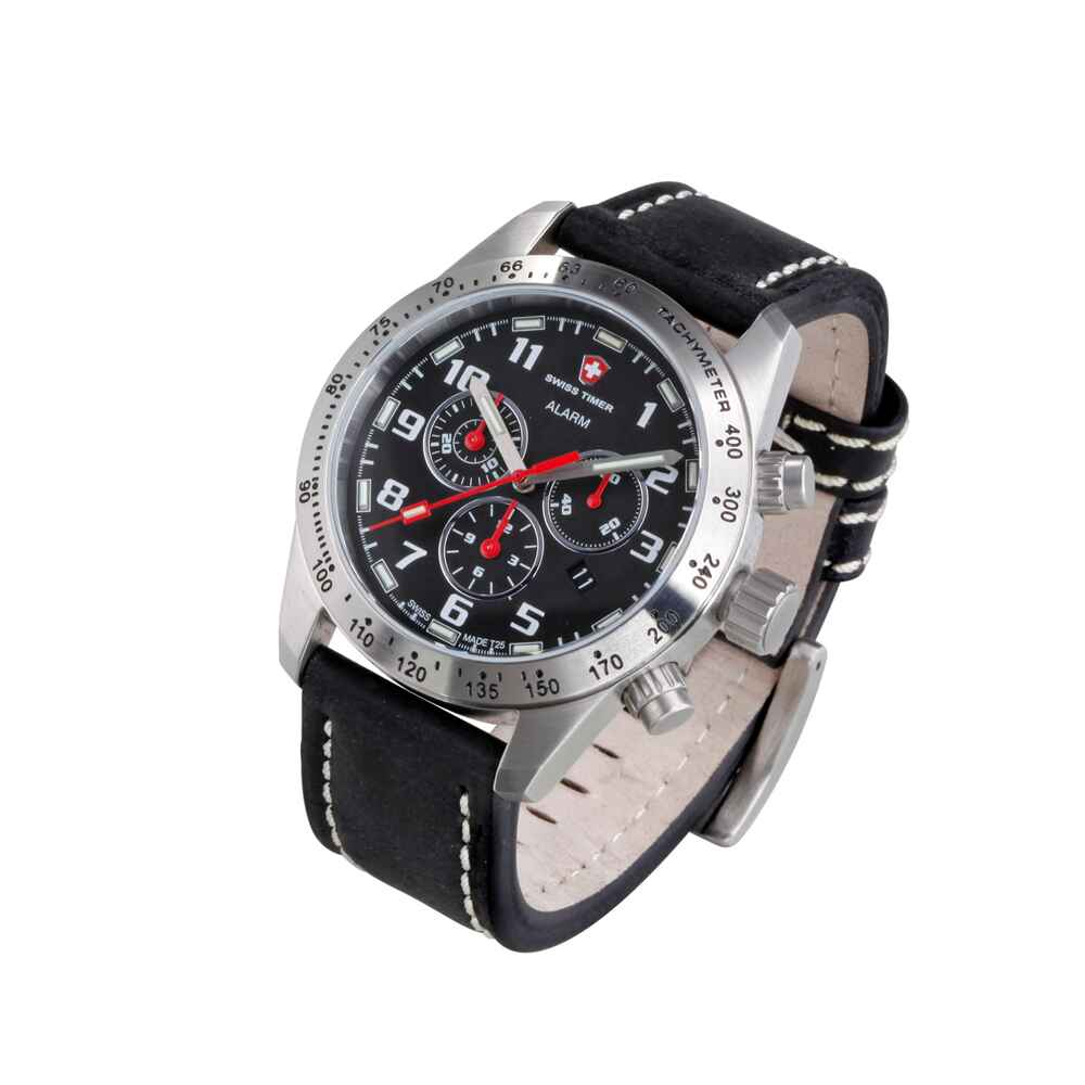 swiss timer uhr h3 chrono alarm mit lederarmband. Black Bedroom Furniture Sets. Home Design Ideas