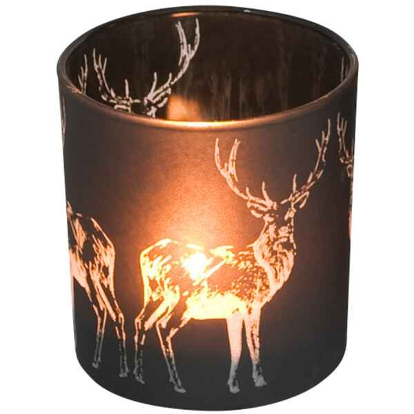 edzard glas windlicht mit hirschmotiv ausf hrung klein 7 cm h he 8 cm dekoration. Black Bedroom Furniture Sets. Home Design Ideas
