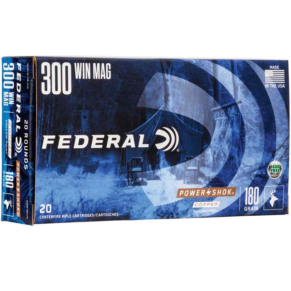 .300 Win. Mag. Federal Power Shok Copper HP 180 grs., Federal Ammunition