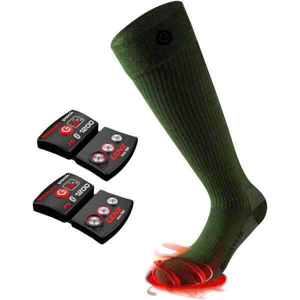 Set Paar Heizsocken 4.0 Toe Cap + rcB 1200 Lithium Pack, Lenz HEAT