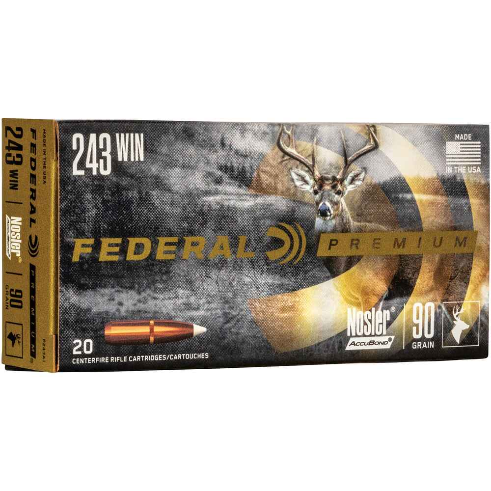 .243 Win. Premium Nosler Accubond  90 grs. , Federal Ammunition