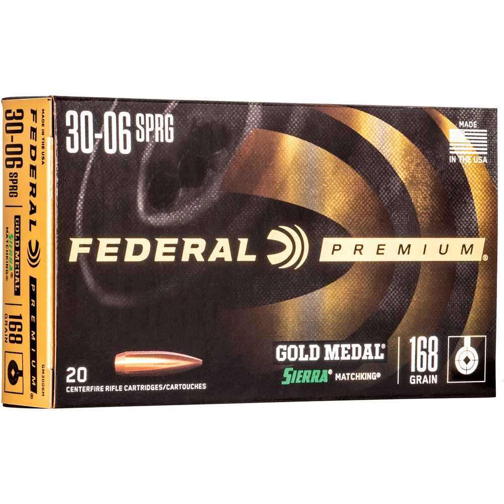 .30-06 Spr. Premium Gold Medal Sierra Match King 10,8g/168grs. , Federal Ammunition