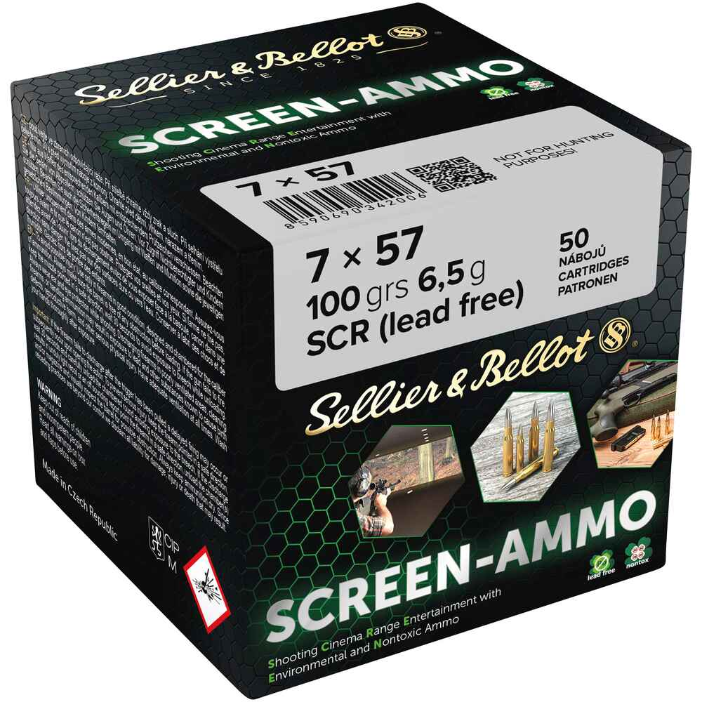7x57 Screen-Ammo SCR Zink 6,5g/100grs, Sellier & Bellot