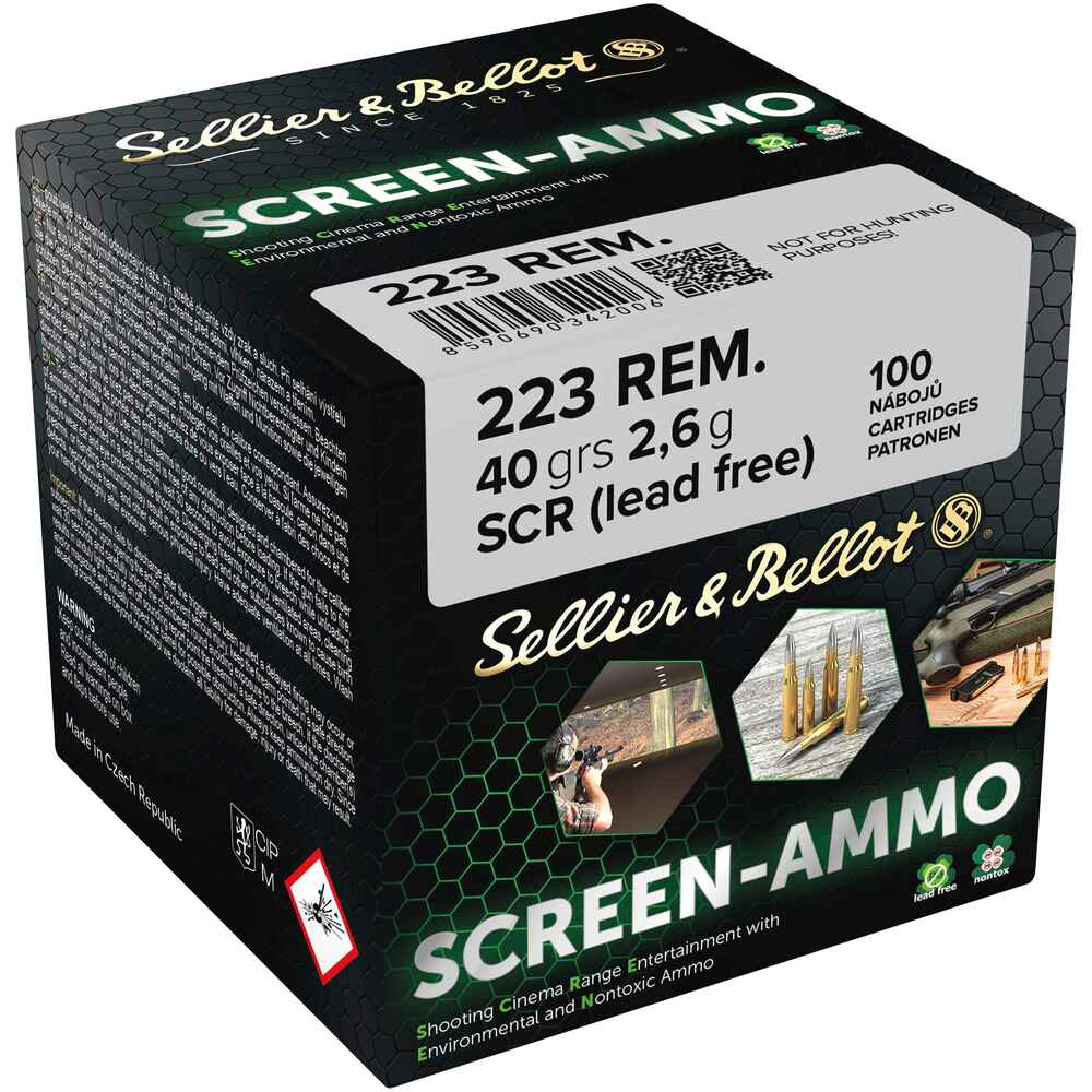 Screen-Ammo .223 Rem. SCR Zink 2,6g/40grs. , Sellier & Bellot