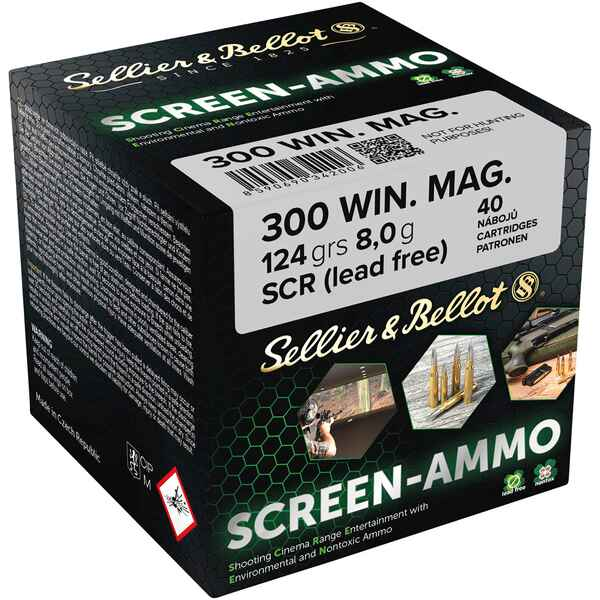 Screen-Ammo .300 Win. Mag. SCR Zink 124 grs., Sellier & Bellot