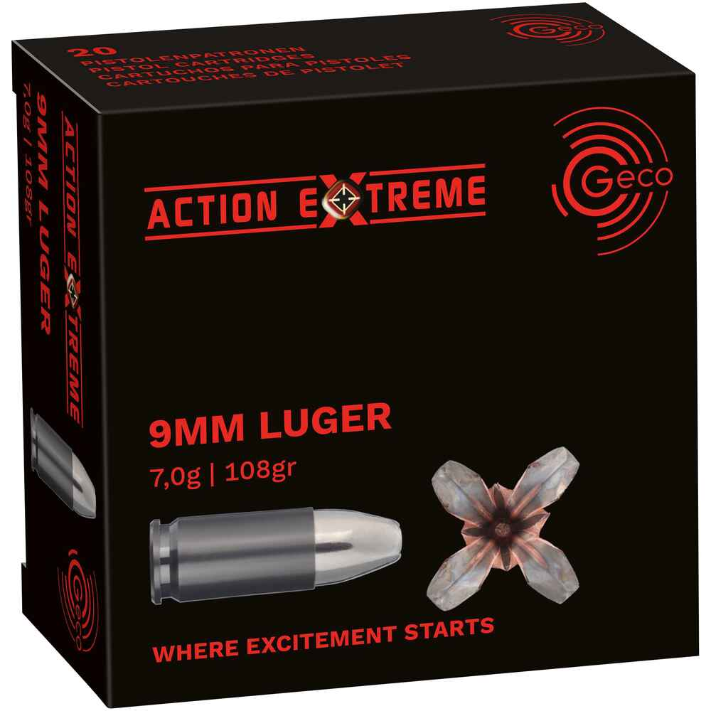 9 mm Luger Action Extreme 7,0g/108grs., Geco