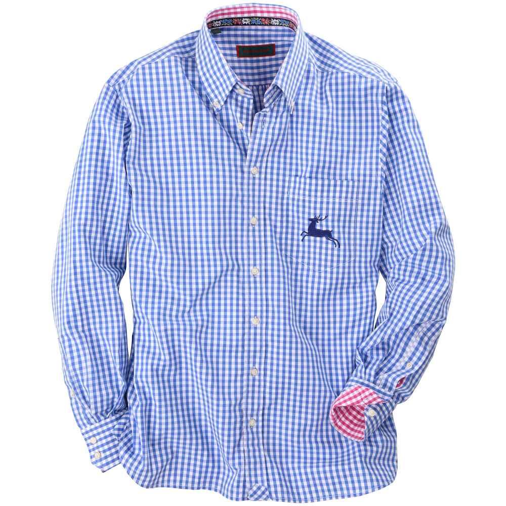 REITMAYER Vichykaro-Hemd mit Stickerei (blau) - Hemden ...