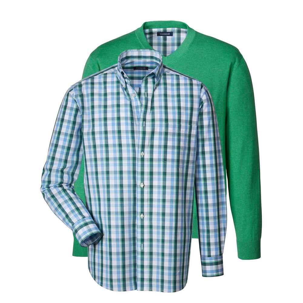 highmoor set mit pullover und hemd gr n pullover bekleidung herrenmode mode online. Black Bedroom Furniture Sets. Home Design Ideas