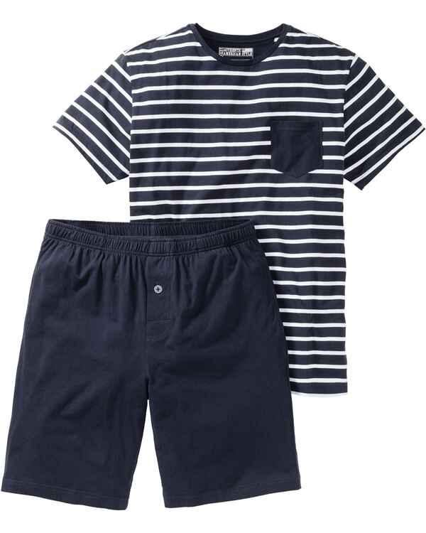jockey schlafanzug kurz blau homewear bekleidung. Black Bedroom Furniture Sets. Home Design Ideas
