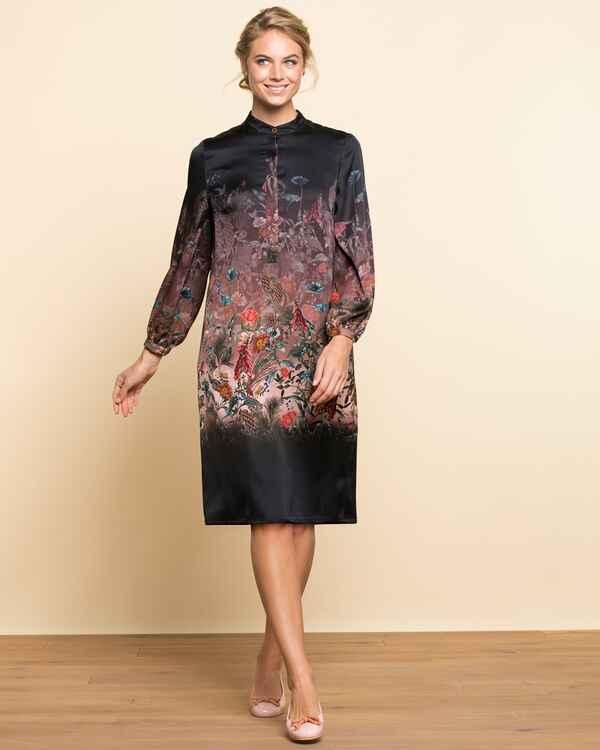 brigitte von sch nfels tunikakleid mit blumendruck lila dirndl kleider bekleidung. Black Bedroom Furniture Sets. Home Design Ideas