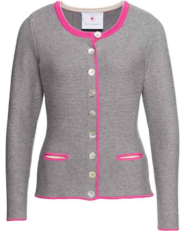 herzensangelegenheit trachten strickjacke grau rosa strick bekleidung damenmode mode. Black Bedroom Furniture Sets. Home Design Ideas