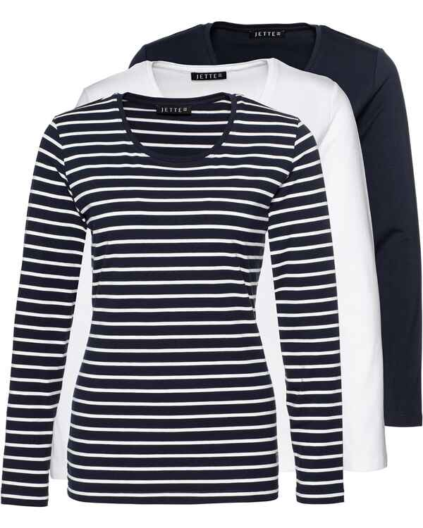 size 40 ce528 a4444 JETTE Langarm-Shirt 3er-Pack