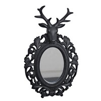 Wall mirror with stag head
