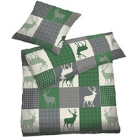 High-quality flannel bed linens, stag
