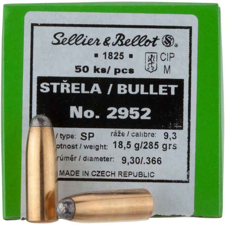 .366 (9,3mm), 285grs. Tlm Rd, Sellier & Bellot