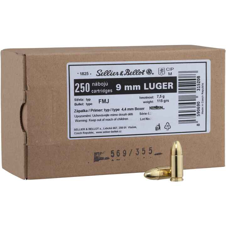 9 mm Luger Vollmantel 7,5g/115grs., Sellier & Bellot