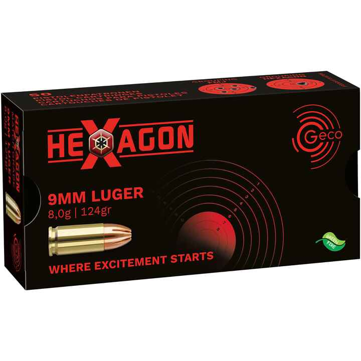 9 mm Luger Hexagon SX 8,0g/124grs., Geco