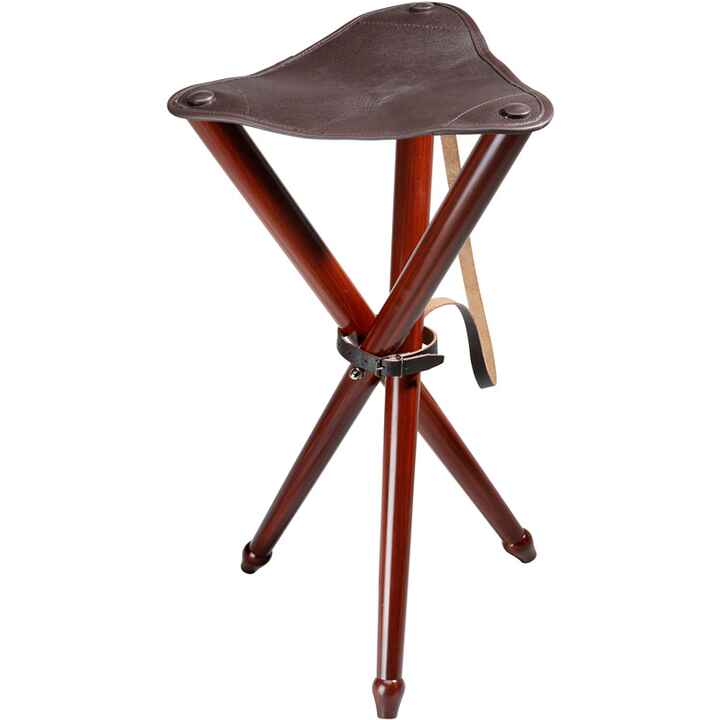 Three-legged stool with leather, Wald & Forst