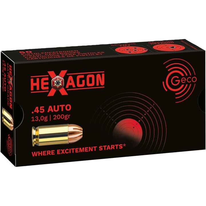 .45 ACP Hexagon SX 200 grs., Geco