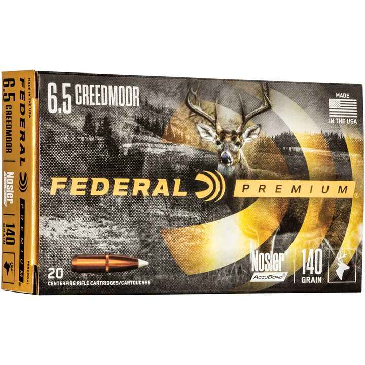6,5 Creedmoor Premium Nosler Accubond 140 grs., Federal Ammunition