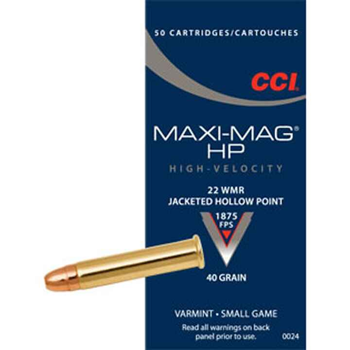 .22 Winchester Magnum, Teilm.-Hohlsp. 40 grs., CCI
