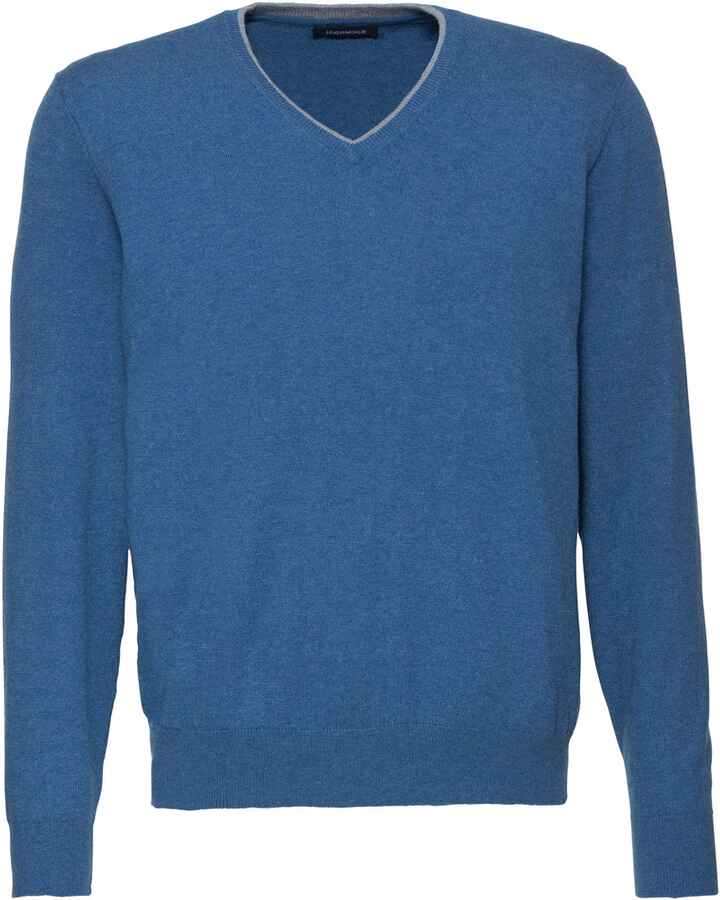 V-Pullover mit Patches, HIGHMOOR