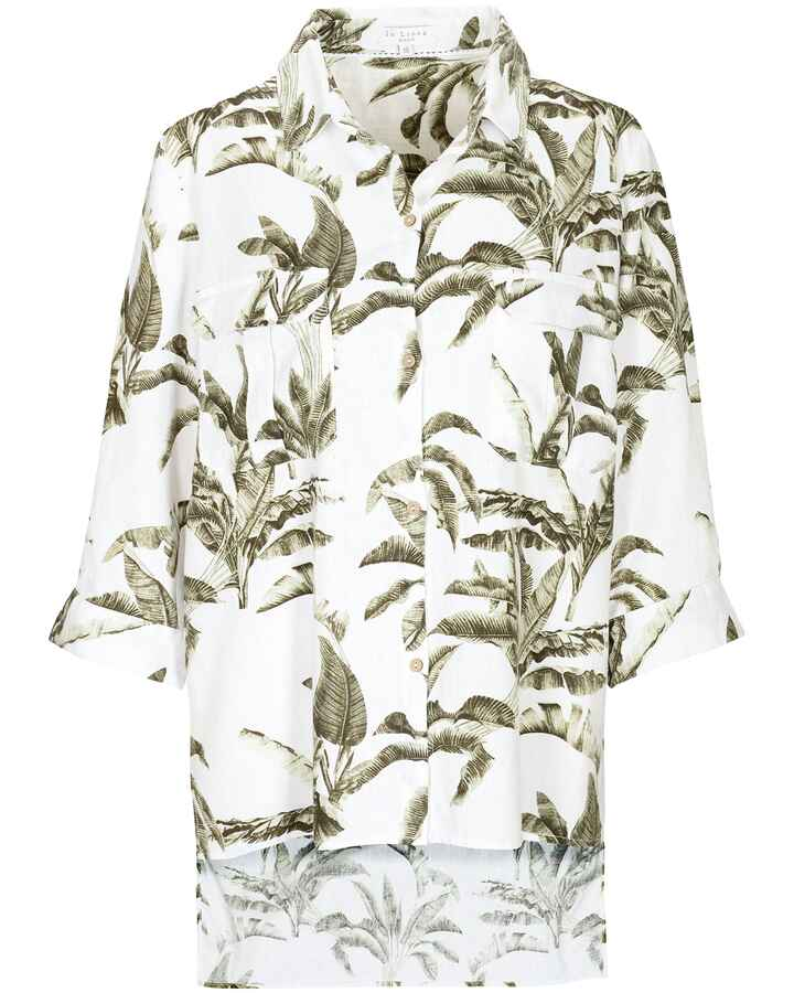 Oversized Bluse mit Blätterprint, In Linea